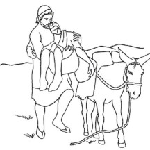 Good Samaritan Put Injured a Traveller on Donkey Coloring Page