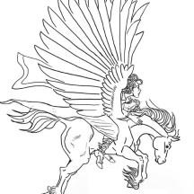Greek Knight Ride Pegasus Coloring Page