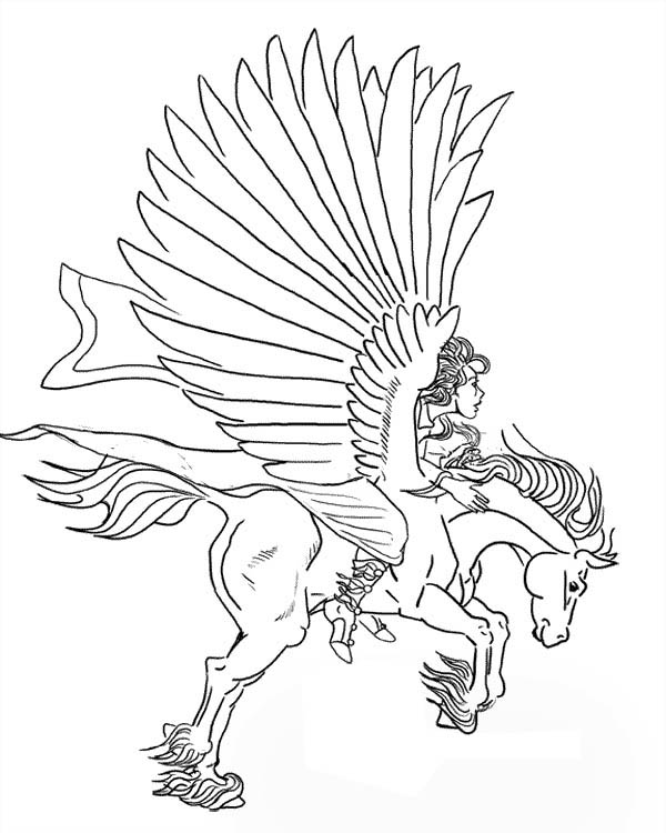Greek Knight Ride Pegasus Coloring Page Netart