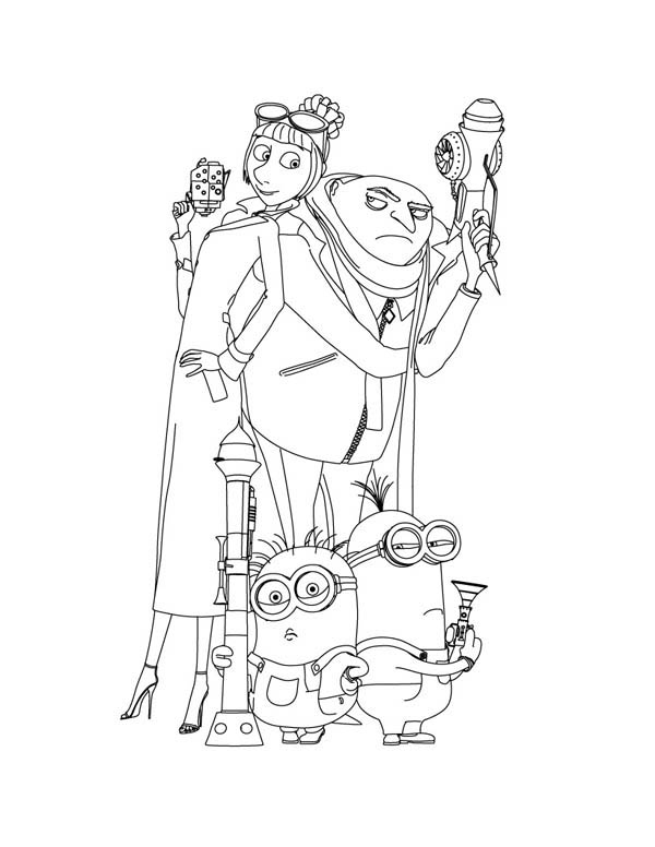 Gru and Agent Lucy Wilde and Minions in Despicable Me Coloring Page