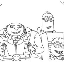 Gru and Minions on the Plane in Despicable Me Coloring Page