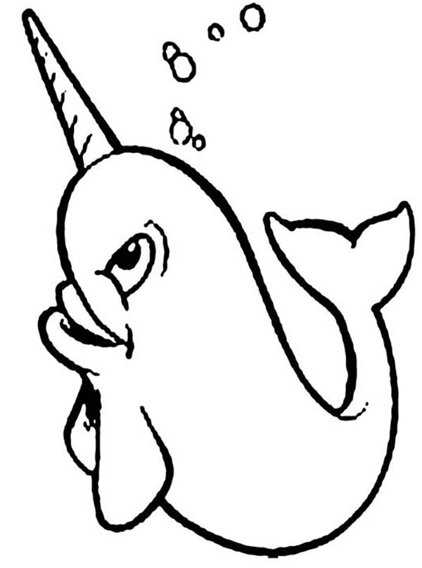 Happy Narwhal Coloring Page