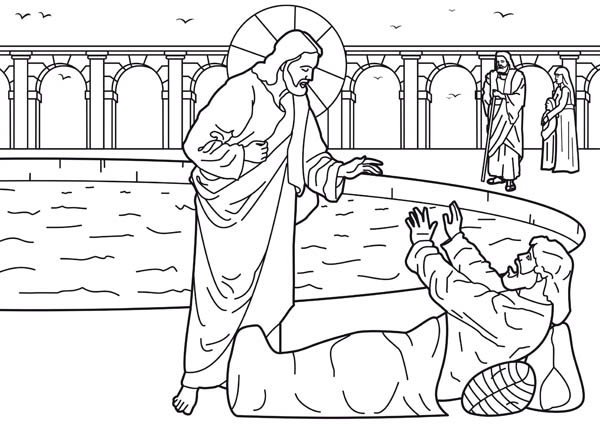 Healing of the Man at the Pool of Bethesda is One of Miracles of Jesus Coloring Page