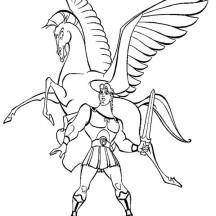 Hercules and Pegasus Coloring Page