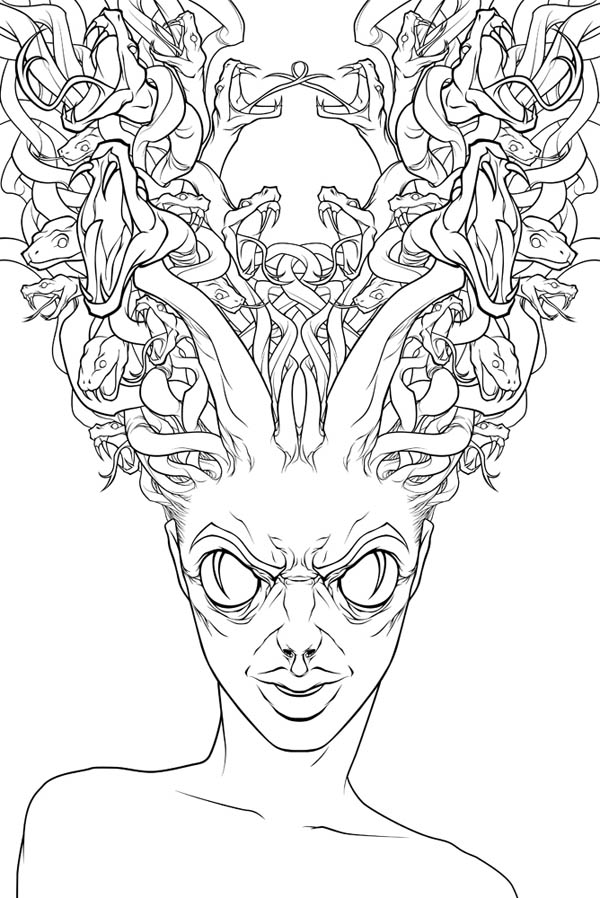 Hideous of Medusa Coloring Page