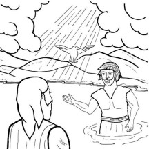 Holy Spirit Upon Jesus Head in John the Baptist Coloring Page