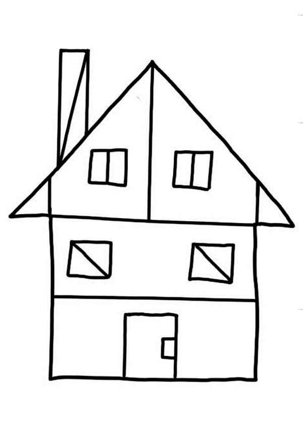House Shapes Coloring Page