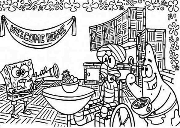 Injured Squidward Welcoming Party Coloring Page