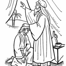 Isaac Give His Blessing to Jacob in Jacob and Esau Coloring Page