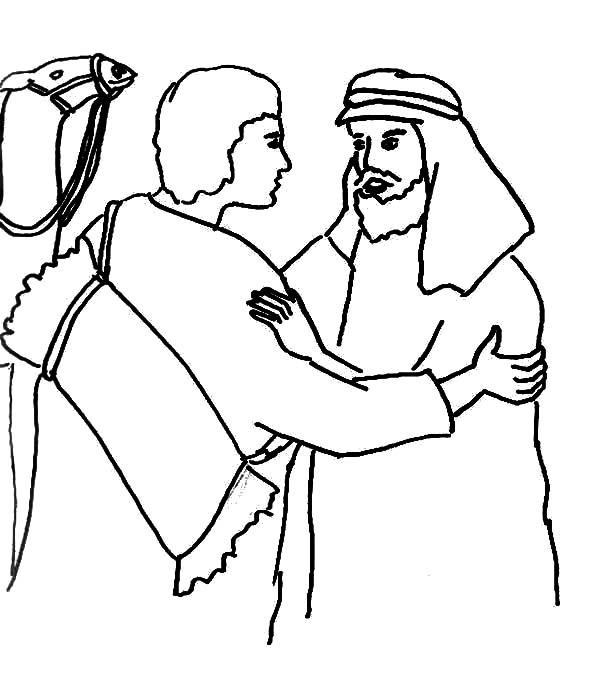 Jacob and Esau Reunion Coloring Page reunite