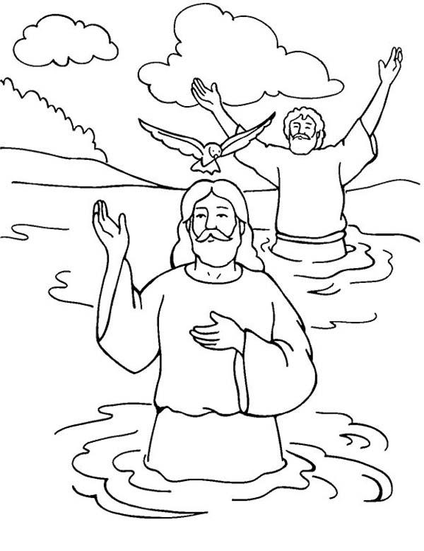 - Jesus Baptism With Holy Spirit In John The Baptist Coloring Page - NetArt