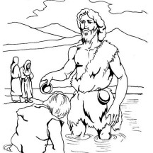 Jesus Being Baptism by John the Baptist Coloring Page