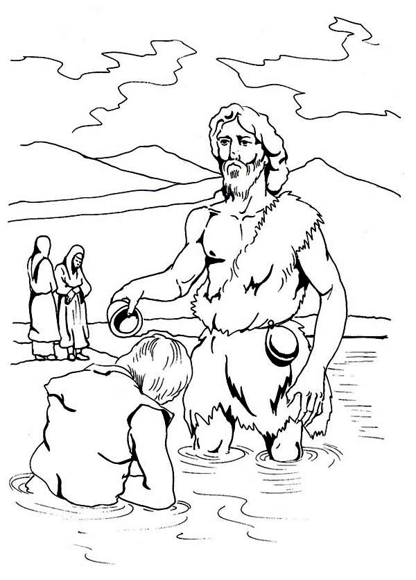Jesus Being Baptism by John the Baptist Coloring Page - NetArt
