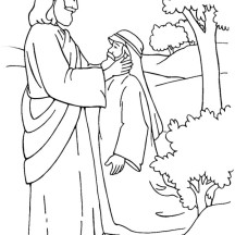 Jesus Healing Deaf Man is Miracles of Jesus Coloring Page