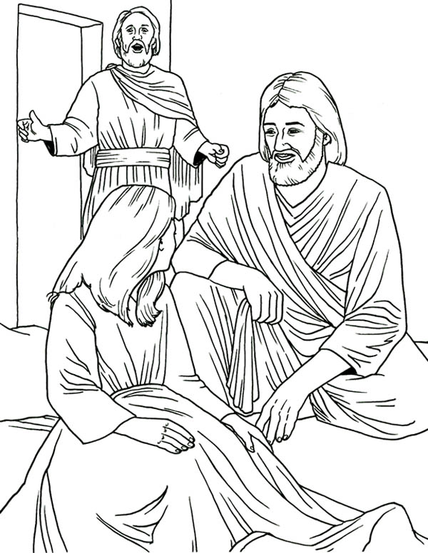 Jesus Heals Jairus Daughter in Miracles of Jesus Coloring Page