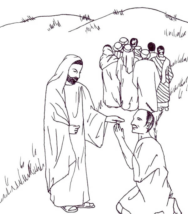 Jesus Teaches Coloring Pages - Jesus heals the 10 lepers | Bible ... | 682x600