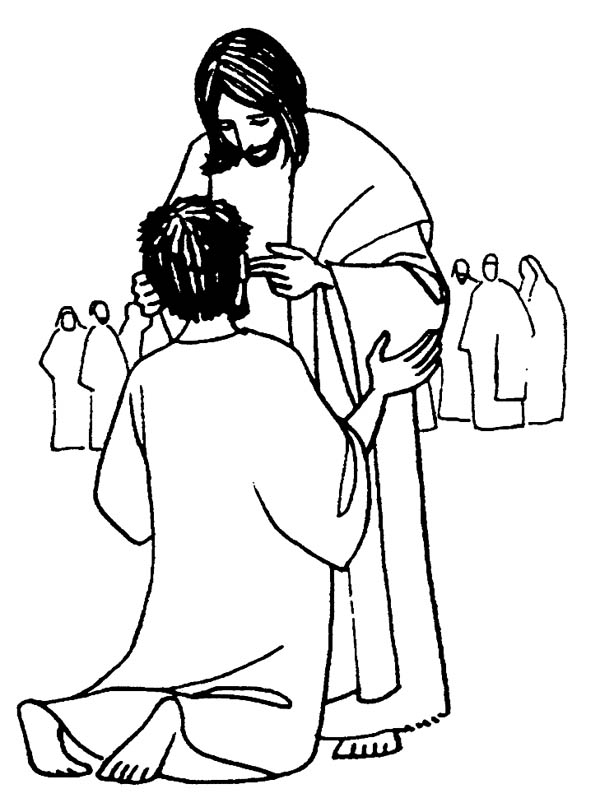 Jesus Heals the Sick is Miracles of Jesus Coloring Page