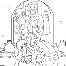 Jesus Make Wine from Water in Miracles of Jesus Coloring Page