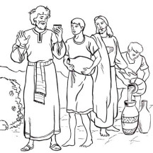Jesus Turn Six Jars of Water into Wine in Miracles of Jesus Coloring Page