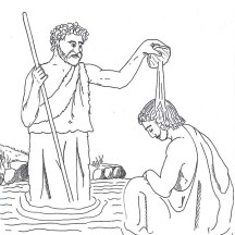 John Pour Some Water into Jesus Head in John the Baptist Coloring Page
