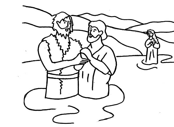 John the Baptist Hold Jesus Hand Coloring Page