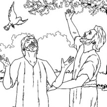 John the Baptist and Jesus Looking Up the Sky Coloring Page
