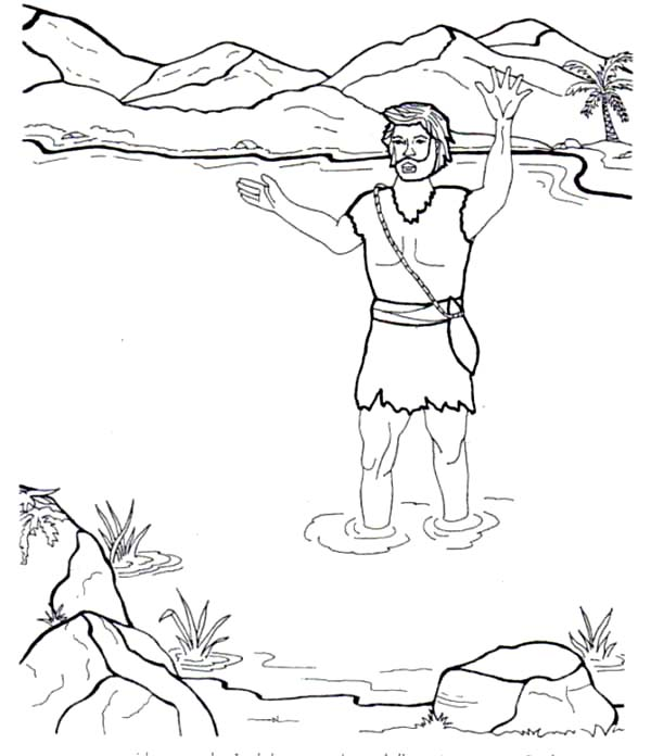 John the Baptist in the River Coloring Page