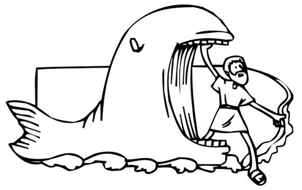 Jonah Came Out from Whale Mouth in Jonah and the Whale Coloring Page ...