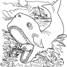 Jonah Get Out from Whale Stomach in Jonah and the Whale Coloring Page