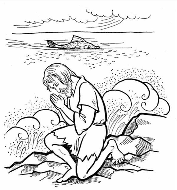 Jonah Praying to God after Being Swallowed by Whale in Jonah and the Whale Coloring Page