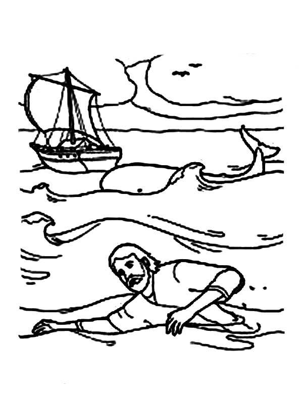 Jonah Swim to Shore in Jonah and the Whale Coloring Page ...