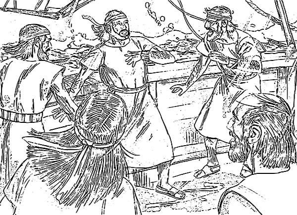 Jonah about to Throw Away from Boat in Jonah and the Whale Coloring Page