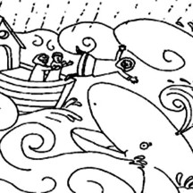 Jonah and the Whale Illustration Coloring Page