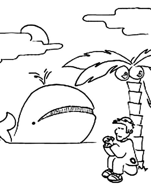 Jonah and the Whale in Jonah and the Whale Coloring Page