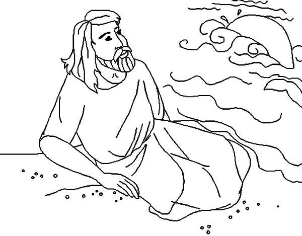 Jonah at Beach Watching Whale Gone Away in Jonah and the Whale Coloring Page