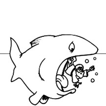 Jonah in the Sea with a Whale in Jonah and the Whale Coloring Page