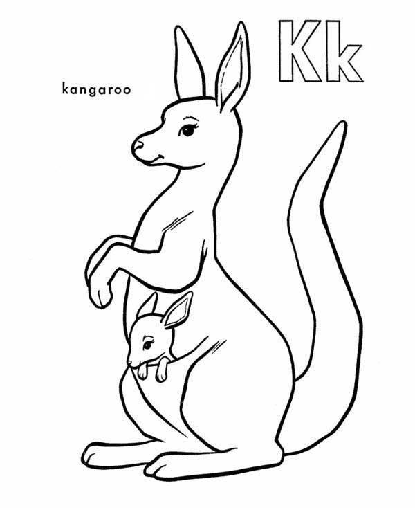 Kangaroo Carrying Baby Kangaroo Coloring Page