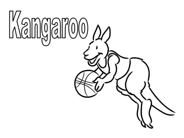 Kangaroo Playing Basketball Coloring Page