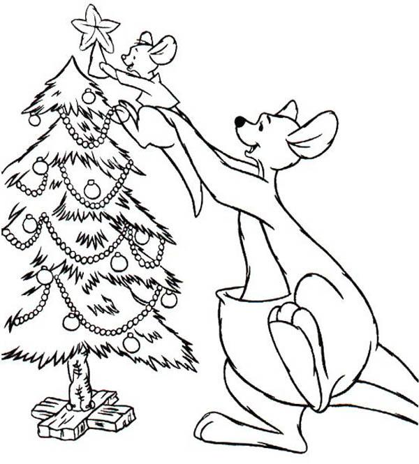 Kangaroo Put Her Baby on Top of Christmas Tree Coloring Page