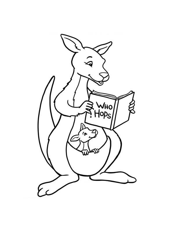 Kangaroo and Baby Kangaroo Reading a Book Coloring Page
