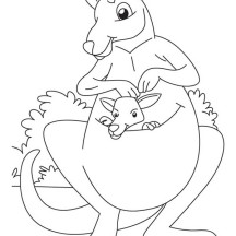 Kangaroo and Her Baby in the Bush Coloring Page