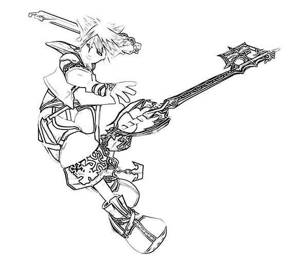 Keyblade Wielder Sora Coloring Page