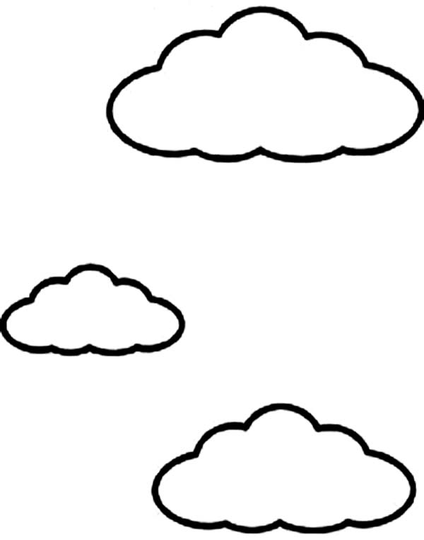 Kids Drawing of Clouds Coloring Page