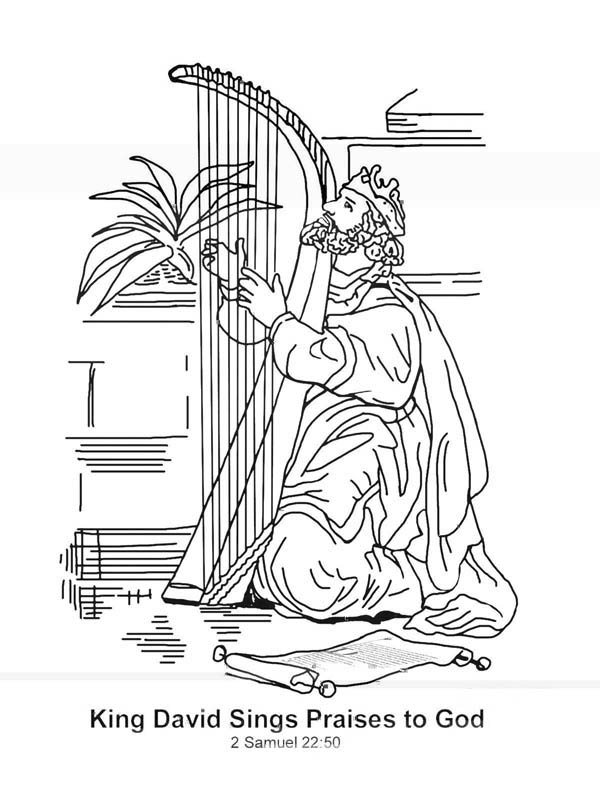 King David Sings Praises to God in the Story of King Saul Coloring Page