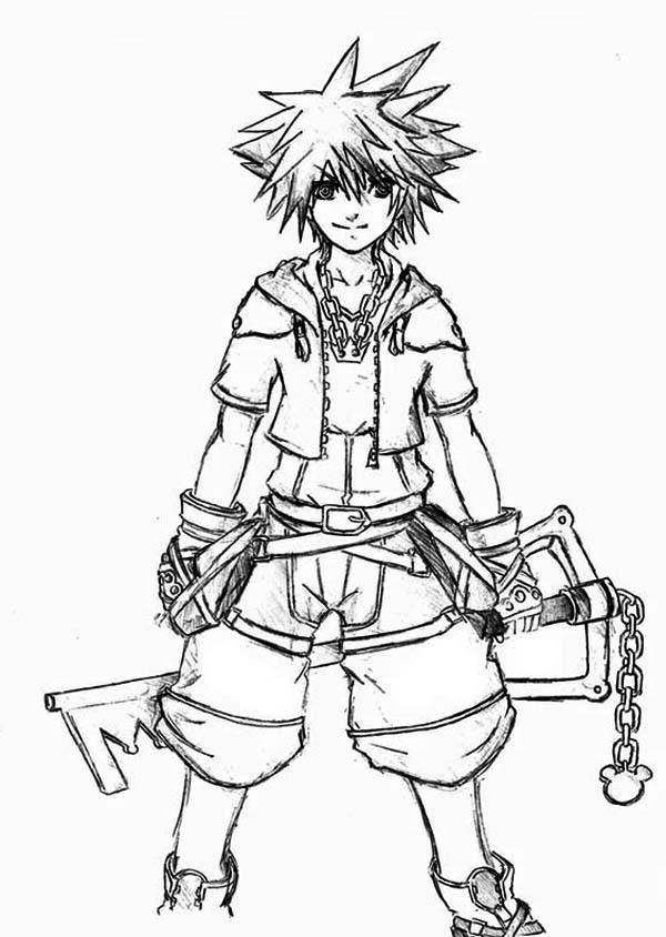 Kingdom Hearts Character Sora Coloring