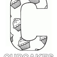 Letter C Full of Cupcake Coloring Page