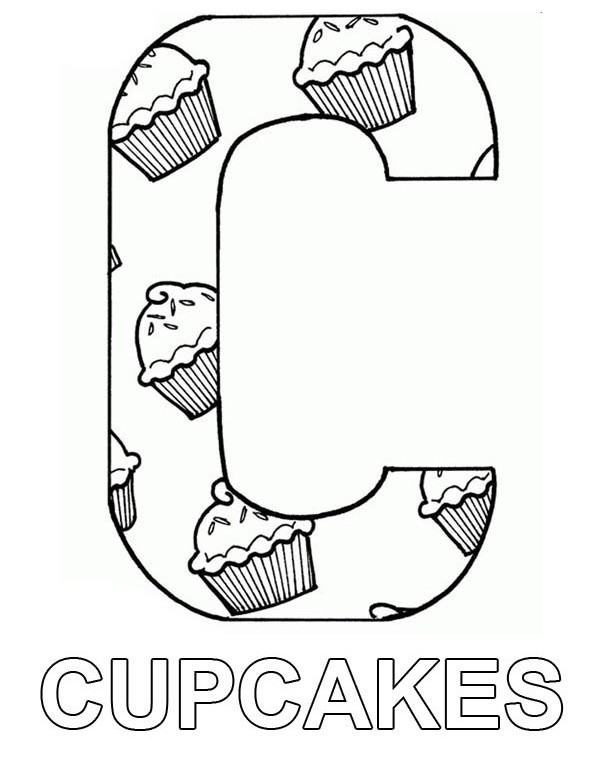 Letter C Full of Cupcake Coloring Page - NetArt