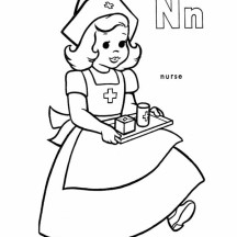 Little Nurse Bring Patient Some Medicine Coloring Page