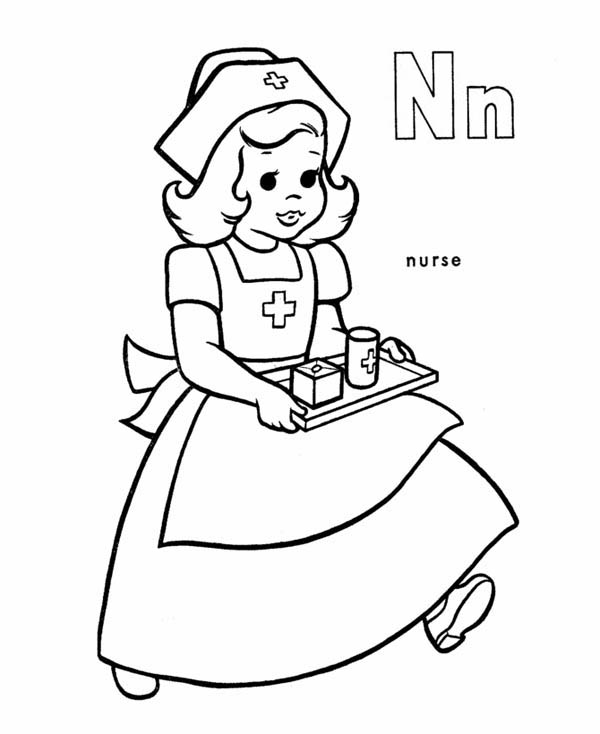 Little Nurse Bring Patient Some Medicine Coloring Page