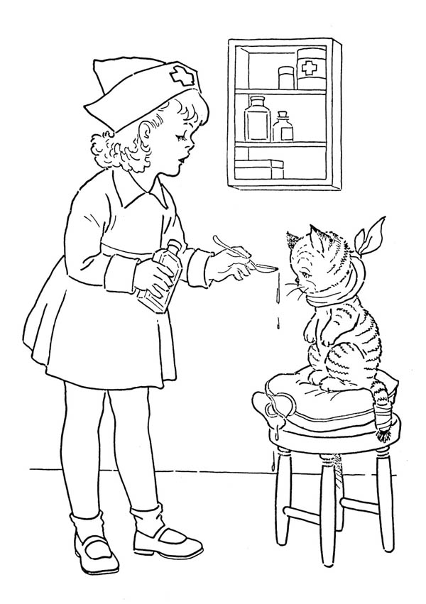 Little Nurse Gives Medicine to a Cat Coloring Page